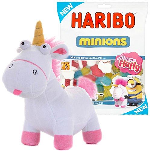 Preisvergleich Produktbild Minions Einhorn Plüschfigur liegend - Neu 2017 - Das Fluffy Unicorn zum Neuen Minions Kinofilm Ich Einfach Unverbesserlich (30cm stehend + Haribo Minions 150g)