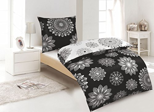 2Tlg Wende Bettwäsche Baumwolle Renforce Schwarz Weiß 135x200 mit Reißverschluss Schwarz-weiß-und-bettwäsche