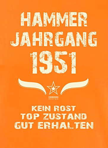 Geschenk Set : Geschenkidee 66. Geburtstag ::: Hammer Jahrgang 1951 ::: Herren T-Shirt & Urkunde Geburtstagskind des Jahres für Ihren Papa Vater Opa Großvater ::: Farbe: schwarz Orange