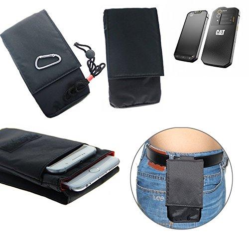 K-S-Trade (TM) sacchetto cintura, marsupio / borsa a tracolla, taschino per Caterpillar Cat S60, nero. Borsa da viaggio, Travel-Caso verticale, Protezione cinghia copertura cassa clip caso