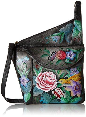 Anuschka handbemalte Ledertasche, Schultertasche für Damen, Geschenk für Frauen, Handgefertigte Tasche mit Fach- Asymmetric Slim Umhängetasche (Vintage Bouquet 552 VBQ)