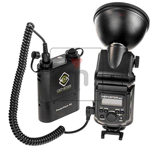 Kit genesis reporter 360 più battery pack (4500mah per 450 flash a piena potenza) flash da 360w hss con parabola da 12cm ibrido tra flash da slitta e flash da studio