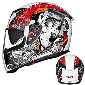 Leoie Men Motorcycle Helmet Four Seasons Double Lens Anti-Fog Full Helmet White red XXL