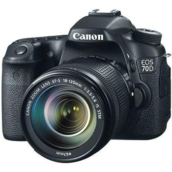 Canon EOS 70D SLR-Digitalkamera (20,2 Megapixel, 7,7 cm (3 Zoll) TFT-Display, CMOS-APS-C Sensor, 0,95-fach Zoom, mini-HDMI, 3,5mm Klinke) Kit inkl. EF-S 18-135mm Objektiv schwarz
