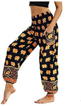 Nuofengkudu Pantaloni Harem Estivi Thai Aladin Stile Boho Vintage Stampa Vita Alta con Tasconi Yoga Pants Beach
