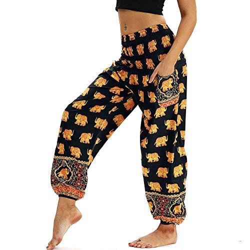 Nuofengkudu Damen Hippie Harems Hose Pumphose Haremshose Aladdinhosen Boho Gemustert Gesmockte Taille mit Taschen Yogahose Freizeithose Sommerhose Strandhose Gelb Elefant -