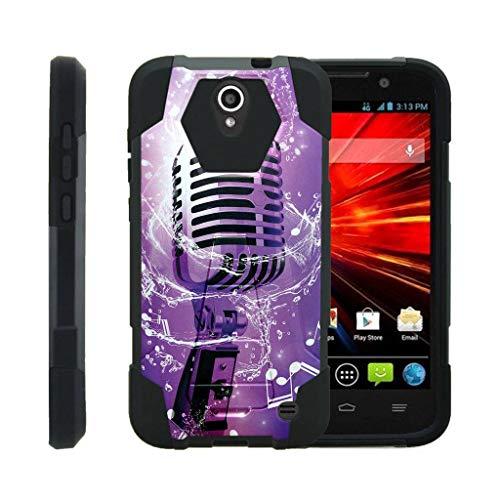 TurtleArmor Schutzhülle für ZTE Grand X 3, ZMax Champ Hülle, Warp 7 [Dynamische Schale] Stoßdämpfende Stoß-Schale Hybrid-Gel-Hartschale mit Ständer, Purple Microphone
