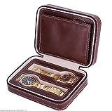 Yaiyu Watch Box - Elegante custodia per orologi da polso da 2/4/8 in pelle con bracciale, orologio con cerniera lampo borsa portatile con cerniera (Colore : Brown, Dimensione : 4 lattice)