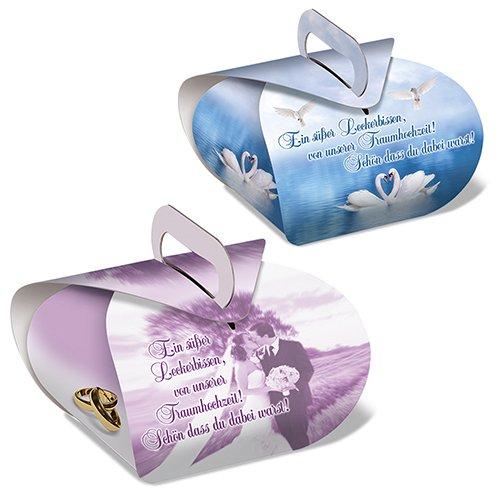 100 Stück Wedding Cake Boxes, 50 Stück lila Brautpaar + 50 Stück blaue Schwäne