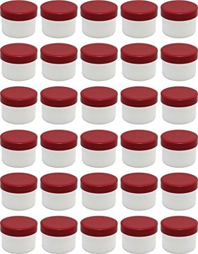 30 Salbendöschen, Creme-döschen, Salbenkruke flach, 35ml Inhalt mit roten Deckeln - MADE IN GERMANY