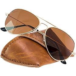 Rivacci Sonnenbrille Herren Damen Aviator Verspiegelte Retro Design Polarisierte - Etui & Brillentuch - Gold / Braun