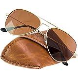 Rivacci Gafas de Sol de Moda Polarizadas estilo Aviador - Outlet Sunglasses - Marca Retro / Vintage Baratas para Mujer y Hombre – Deportivas Dorado / Marrón Polarizado