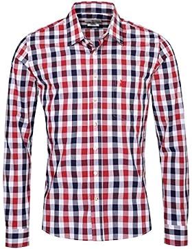 Almsach Trachtenhemd Roland Slim Fit Zweifarbig in Dunkelblau und Rot Inklusive Volksfestfinder