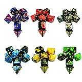 Dadi da Gioco, 6 x 7 (42 pezzi) Poliedrici Doppio-Colore per RPG Dungeons e Dragons Pathfinder, 6 Set di DND MTG RPG D20, D12, 2 D10 (00-90 e 0-9), D8, D6 D4 con 6 Pezzi Sacchetti Neri