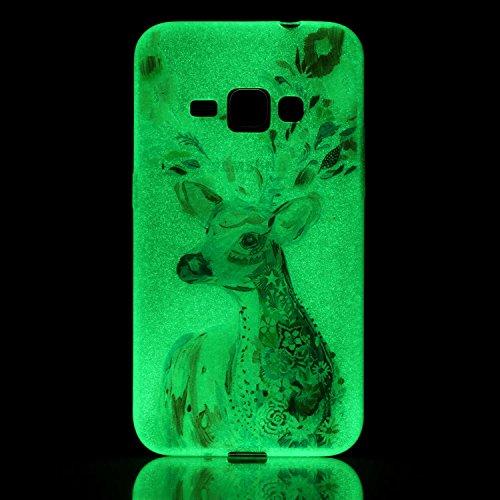 CaseHome Samsung Galaxy J120/J1 (2016) Luminous Hülle (Mit Frie Displayschutzfolie) Leuchtende Silikone Rückhülle Für iPhone 6 6s Plus 5.5 Zoll Zoll Silikon Etui Handy Hülle Weiche Transparente Lumino Aquarell Hirsch