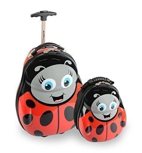 Skykidz valigia trolley in policarbonato per bambini coccinella con zaino coordinato omaggio