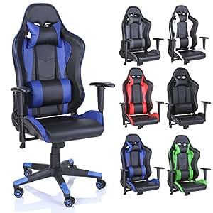 TRESKO® Chaise Fauteuil siège de bureau racing sport ergonomique, dossier réglable en continu, de 6 couleurs différentes (noir/bleu)