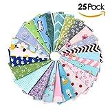 FEMOR 25 Pcs Tissu Patchwork Carré Patchwork 100% Coton Mixtes-30*30cm coupon tissu Tissu de Coton Couture Artisanat DIY Fabric Sewing aux Motifs Fleurs