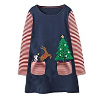 Longra® Christmas Baby Dress,Toddler Kids Baby Girls Princess Dress Cotton Striped Clothes for 1-7 Years