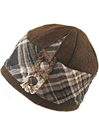 9d76a73a27b173 Mayser Stoffglocke als Winterhut - Modischer Damenhut in Baumwolle braun -  Ohren bedeckt