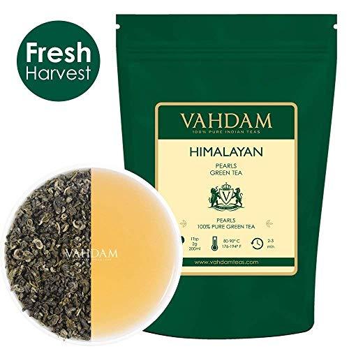 VAHDAM, Himalayan Pearls Grüne Teeblätter   100gm (40+ Becher)   Reines Grüntee Loose Leaf   Green Tea   Natürlicher Detox Tee, Abnehmen Tee, Abnehmen Tee Gebraut als heißer Tee oder Eistee