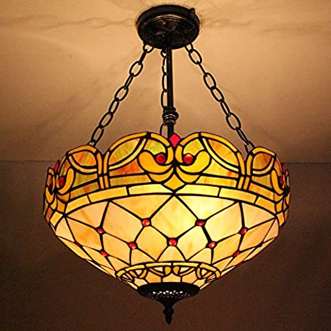 Européenne Vintage Style Pastoral Élégant Tiffany 16-Inch Main Stained Glass Pendant Lamp Salle Lumineuse