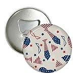 DIYthinker USA-Flaggen-Bindung Glasstern Festival Runde Flaschenöffner Kühlschrank Magnet Pins Abzeichen-Knopf-Geschenk 3pcs Silber