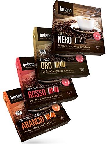 Belano Probierset 100 Nespresso kompatible Kapsel Capsule Nero Oro Arancio Rosso Espresso Caffe Crema 100% Arabica Kaffee Kapseln kompatibel mit Nespresso-Maschinen*