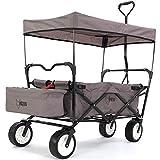 FUXTEC faltbarer Bollerwagen FX-BW100 grau klappbar mit Dach, Vorderrad-Bremse, Strand-Reifen, Hecktasche, für Kinder geeignet - Das Original mit Qualität!