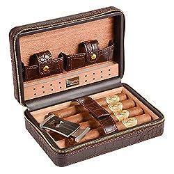 Volenx Zigarren Humidor Leder mit Zigarrenschneider-4 zigarren(braun)