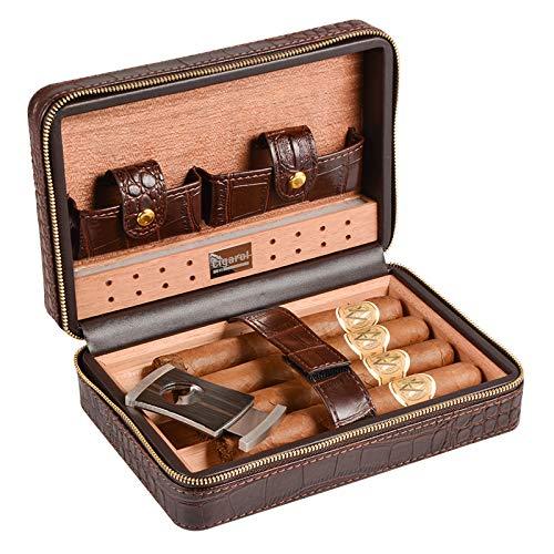 Volenx - Umidificatore per sigari da viaggio, interno in legno di cedro, fodera esterna in pelle di coccodrillo, alloggiamenti per 4 sigari, tagliasigari in acciaio inossidabile, colore: caffè