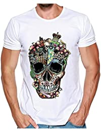 Wawer Camiseta de Manga Corta con Estampado de Calaveras para Hombre, Tallas S-3XL