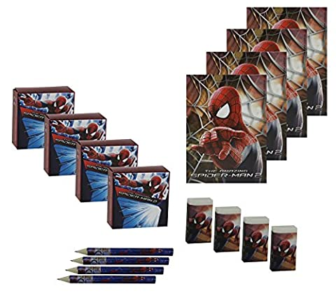 Amazing Spiderman Stationery Packs Party Bag Fillers, 4 Sets