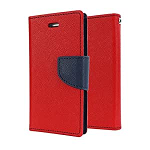 REYTAIL Premium Red & Blue Wallet Diary Faux Leather With Card & Currency Pockets Flip Cover for Sony Xperia E4 / E4G Dual Sim