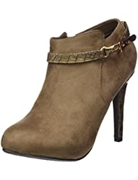 XTI Botin Sra. Antelina Combinada Taupe, Zapatos de Tacón con Punta Cerrada para Mujer