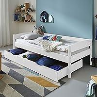 Einzelbett mit Bettschublade ● Buche massiv weiß lackiert ● Liegefläche 90x200cm ● Jugendbett Gästebett preisvergleich bei kinderzimmerdekopreise.eu