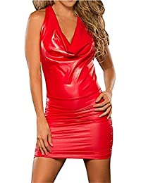 Mujer Sexy Nightclub Cuero de Charol Wetlook Clubwear Halter Backless Mini Bodycon Vestido