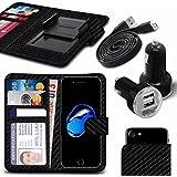 """Asus Zenfone 4 Selfie Pro ZD552KL (5.5"""") - Fall Super-Essentials Pack Clamp Frühlings-Art PU-Leder-Mappe + Dual Einschuss Charger + Micro-USB-1 Meter flache Datenkabel - Carbon Black"""