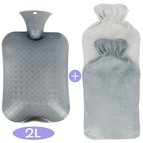 Wärmflasche mit Bezug,2L Wärmeflasche, Abnehmbare und Waschbare Super Soft Luxury Plüschbezug Cashmereweichen Flauschig Wärmflasche,Bettflasche,Schnelle Schmerzlinderung und Komfort -