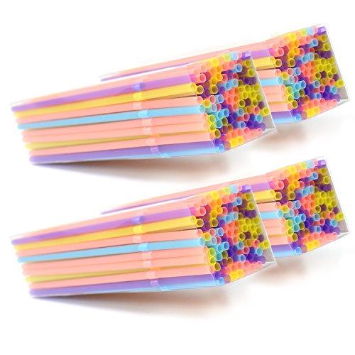com-four® 400x Knickbare Trinkhalme, Strohhalme in verschiedenen bunten Farben (400 Stück - bunt)
