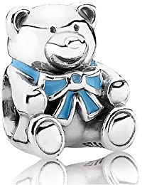 Pandora Damen-Charm 925 Sterling Silber Teddybär Emaille blau 791124EN41
