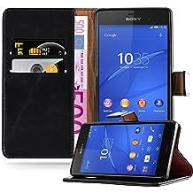 Cadorabo - Funda Estilo Book Lujo para Sony Xperia Z3 con Tarjetero y Función de Suporte - Etui Case Cover Carcasa Caja Protección en NEGRO-GRAFITO