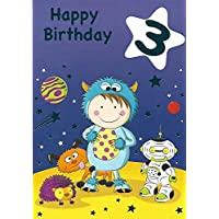 3rd Birthday Card for Boy/Wrapped/Foiled/Age 3