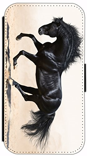 Flip Cover für Apple iPhone 5 5s Design 477 Pferd Hengst Weiß Wiese Grün Weiß Blau Hülle aus Kunst-Leder Handytasche Etui Schutzhülle Case Wallet Buchflip (477) 484