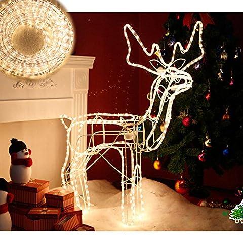 Hengda® 10M LED Lichtschlauch Innen- und Außenbereich Weihnachten Deko Lichterkette Ausstrahlungswinkel 360° Warmweiß