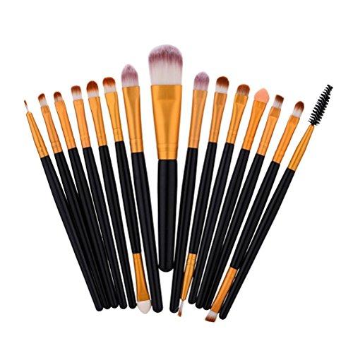 Frcolor Lot de Cosmétique de maquillage ombre à paupières Fond de teint Brosse Fard à Joues outils kit avec poignée Doré Noir 15 pcs