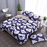 "KFZ Summer Quilt Washed Cotton Comforter and Flat Sheet Pillowcases HYL Twin Full Queen Colorful Pigeons Bear Star Smiley Design for Kids Adult 4pcs/Set (Bear Footprints,Blue, Queen,78""x90"")"