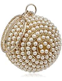 Vanvseor Bolso de embrague con cuentas de diamantes de imitación con perlas glitter, bolso de