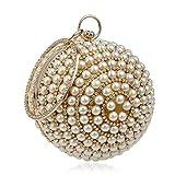 Vanvseor Perle Glitter Femmes perlée Sac d'embrayage strass, boule ronde dames sac de soirée nuptiale de mariage sac à main Sac de bal