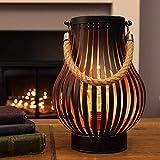 batteriebetriebene Outdoor Metall Windlicht Laterne - Glühbirnen-Design - Timer - LEDs in warmweiß (Bronzefarben)